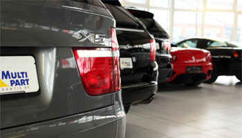 Subject: buying a car - detailed view. Used car showroom