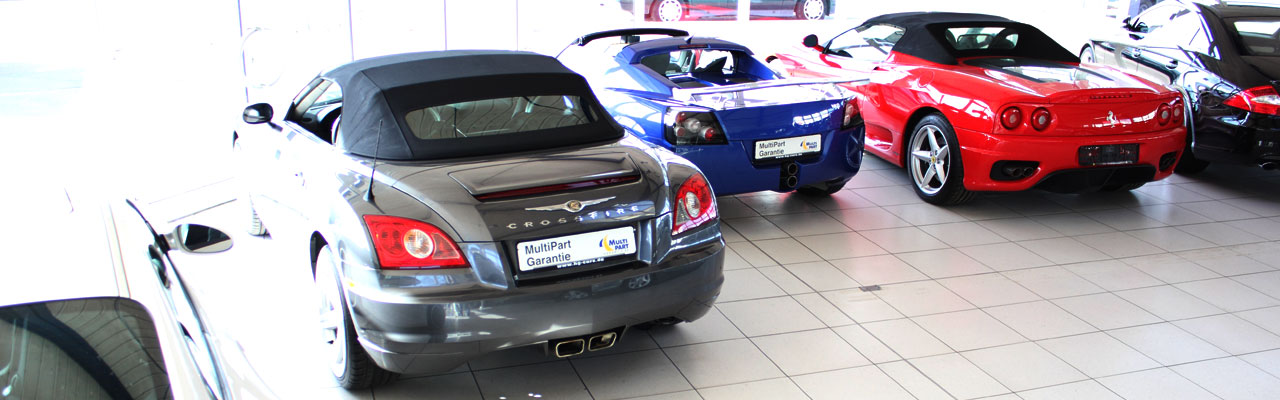 Used cars BMW, Audi, Corvette in the showroom