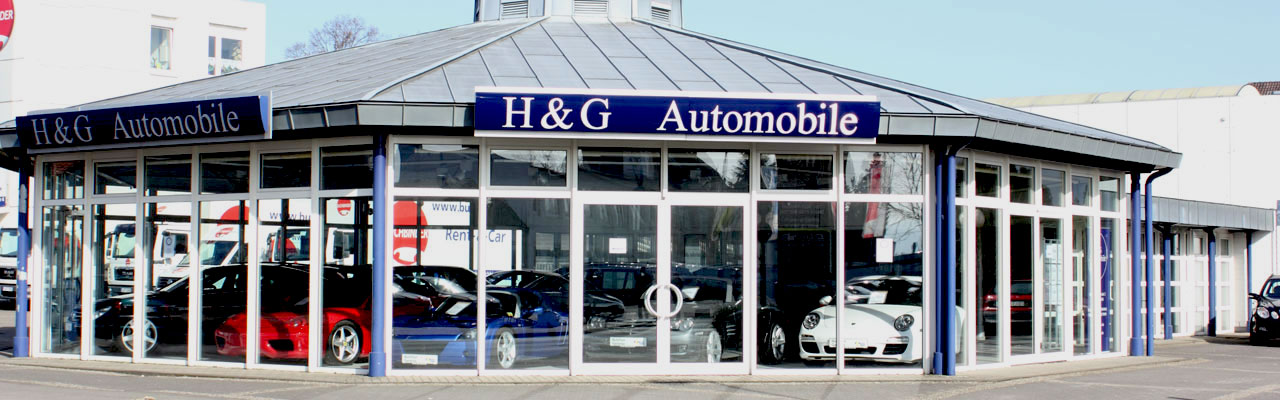 Showroom and pavilion from outside - H&G Automobile Used Car Dealership Bielefeld